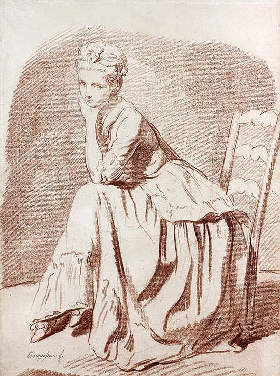 Louis Roland TRINQUESSE (Paris 1746-vers 1800) Jeune femme assise Sanguine Signé en bas à gauche :