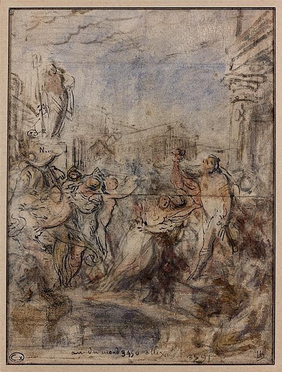 Gabriel de SAINT AUBIN (Paris 1724-1780) L'Enlèvement des Sabines, an du monde 3450 Plume et encre noire, aquarelle sur traits de cr..