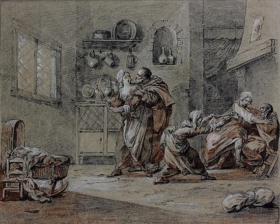 Simon Mathurin LANTARA (Oncy 1729-Paris 1778) Une paire : moines paillards Plume et encre noire, crayon noir, sanguine, rehauts de g...