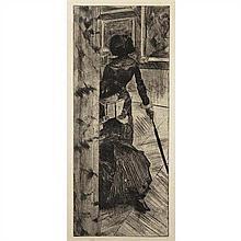 Edgar Degas (1834-1917)Au Louvre, la Peinture, Mary Cassatt, circa 1876
