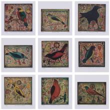 ƒ Tony Fitzpatrick (né en 1958) Ensemble de neuf lithographies en quatre couleurs numérotées