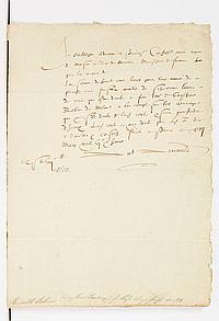 Antoine ARNAULD (1560-1619) avocat au Parlement de Paris, père d'Angélique et Antoine. P.S., Paris 13 mars 1608 ; demi-page in-fol...