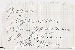 Francis BACON (1909-1992) peintre. L.A.S., à Georges ; 1 page obl. in-12. Billet sur une page arrachée d'un carnet :