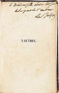 Honoré de BALZAC (1799-1850). Vautrin, drame en cinq actes, en prose… Deuxième édition (Paris, Delloye, Tresse, 1840) ; in-8, dans u...