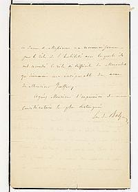 Eve Hanska de BALZAC (1801-1882). L.A.S., [fin août 1851, à LEMOINE-MONTIGNY, directeur du Théâtre du Gymnase] ; 1 page et demie in-...