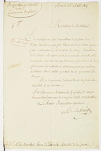 CENT JOURS. 4 L.S., 1 L.A.S. et 1 P.S., Paris mars-juin 1815 ; 6 pages in-fol. ou in-4, la plupart à en-tête, 2 adresses. MARET, d...