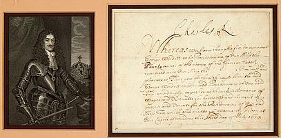 CHARLES II (1630-1685) Roi d'Angleterre. P.S., château de Windsor 3 juillet 1674 ; 1 page obl. petit in-4, en anglais (encadrée avec..