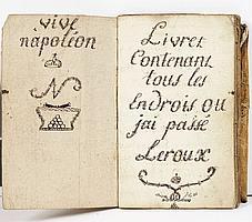 EMPIRE. CARNET DU SOLDAT LEROUX, autographe signé, [1813-1814] ; carnet in-8 cousu de 58 pages, couverture parchemin de réemploi. C...