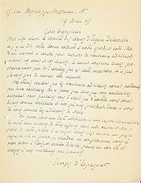 Georges d'ESPAGNAT (1870-1950) peintre. 2 L.A.S., 19 mai-24 juin 1945, [à Raymond NACENTA] ; 1 page in-4 et 1 page in-8. Paris 19 ...