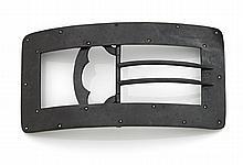 BOUCLE de ceinture Art Déco rectangulaire en métal patiné canon de fusil ponctué de petites pierres blanches