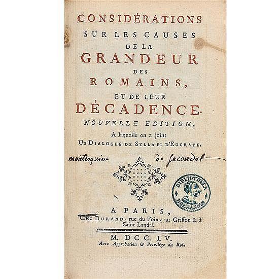 MONTESQUIEU, Charles-Louis de Secondat, baron de la Brède et deConsidérations sur les causes de la grandeur des romains et de leur d...