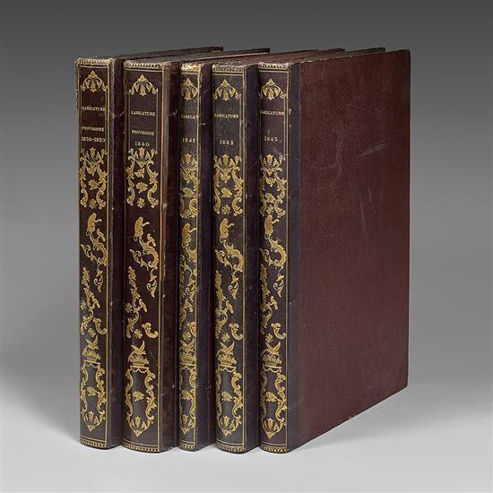 [PHILIPON, Charles] La Caricature provisoire Paris, chez Aubert, 1838-1843 TRÈS BEL ET RARE EXEMPLAIRE, RELIÉ À L'ÉPOQUE, DE CE JO..