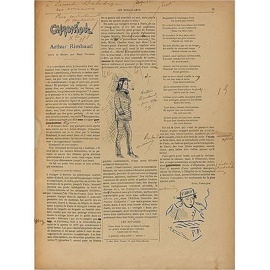 [RIMBAUD, ARTHUR]. VERLAINE, PaulChronique. Arthur Rimbaud, texte et dessins par Paul Verlaine