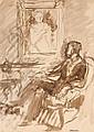 Yves BRAYER (1907-1990) Le Portrait Dessin au lavis signé en bas à droite et titré en bas à gauche 32,5 × 24,5 cm  Ce dessin est une...