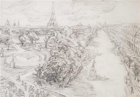 Henri CARTIER BRESSON (1908-2004) Paris Dessin au crayon noir signé des initiales et daté 6.87 29 × 41,5 cm