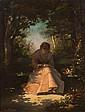 Charles-Auguste RISLER (1819-1899) Jeune femme à la fleur Huile sur toile signée et datée 1884 en haut à droite 40 × 31 cm (Accident...