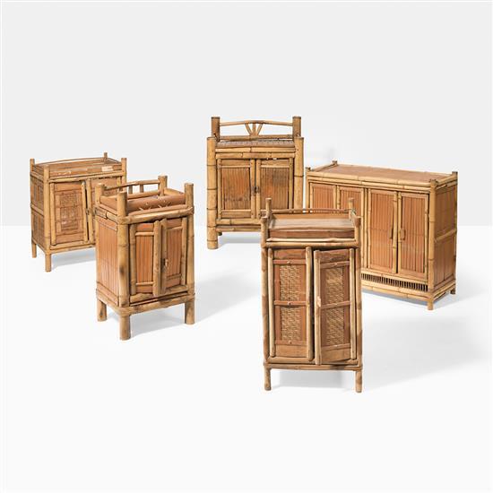 Cinq meubles bas en bambou chineh 70 cm environ chaque for Meuble bas bambou