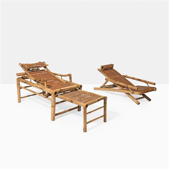 deux chaises longues en bambou chine