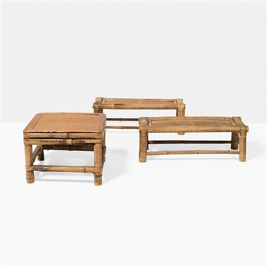 trois tables basses en bambou chine. Black Bedroom Furniture Sets. Home Design Ideas