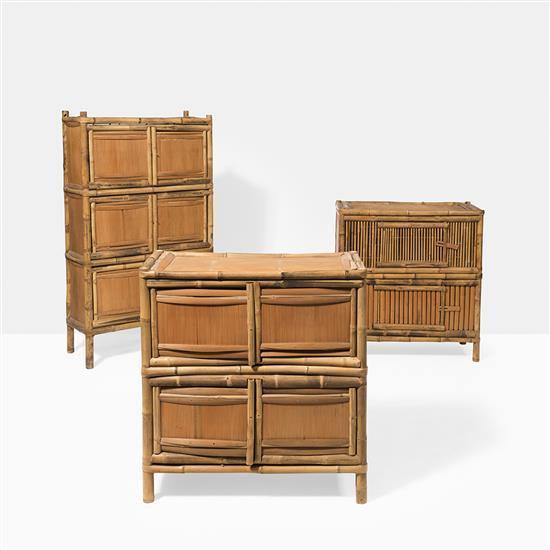 trois armoires en bambou chine149 x 94 x 51 cm. Black Bedroom Furniture Sets. Home Design Ideas