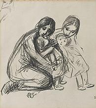 Théophile-Alexandre STEINLEN (1859-1923) Mère et enfants Dessin au fusain, porte le cachet des initiales en bas à droite 38 × 33,5 c...