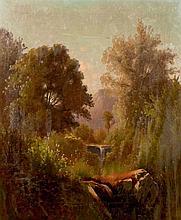 Léon DALLEMAGNE (1837-1907) Paysage au ruisseau Huile sur toile signée et datée 1891 en bas à gauche 68 × 54,5 cm