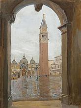 Lucien JONAS (1880-1947) Venise, la place Saint-Marc Gouache sur papier marouflé sur toile, signé en bas à droite, situé Venise et d...
