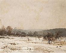Jean-Ferdinand CHAIGNEAU (1830-1906) Femme traînant une branche de bois mort dans un paysage d'hiver Huile sur toile signée en bas à..