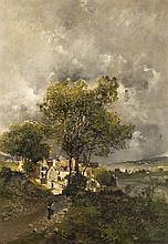 Attribué à Godefroy HAGEMANN (1820-1877) Cantonnier devant le village Huile sur panneau parqueté 33,5 × 62 cm (Petit trou, éclat et ...