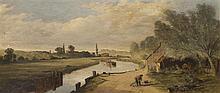 Entourage de George Edwards HERING (1805-1879) Automne sur le Brent L'été à Ponders end (Essex) Deux huiles sur panneau formant pend..