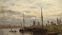 Robert MOLS (1843-1903) Canal et moulins à vent près de Bruges Huile sur panneau signé en bas à gauche, situé au dos sur une étiquet...