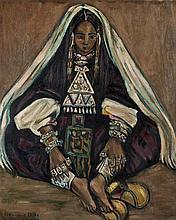 Monique CRAS (1910-2007) La Mariée (Hoggar) Huile sur toile signée en bas à gauche, titrée et contresignée au dos 100 × 82 cm
