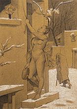 Alfred MEYER (1832-1904) La cigale et la fourmi, 1874 Crayon gris, dorure et aquarelle sur papier signé et daté en bas à droite 20,5...