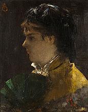 Alfred STEVENS (1823-1906) Femme à l'éventail Huile sur panneau signé du monogramme en haut à gauche, signé, situé et daté au verso,...