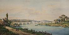 Gaspard GOBAUT (1814-1882) Bouchemaine dans le Maine-et-Loire Aquarelle sur papier signé, situé et daté 1869 en bas à gauche 33,5 × ...