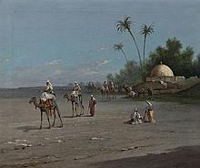 Lucien LAPEYRE (XIX-XXe siècle) La caravane Huile sur toile signée en bas à droite 39,5 × 48 cm