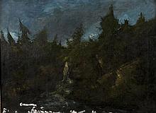 Gustave COURBET et Cherubino PATA Cascade, circa 1874 Huile sur toile, porte une signature en bas à droite 60 × 83 cm (Accidents, ma...