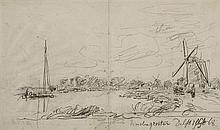 Johann Bartold JONGKIND (1819-1891) DELFT OCT 68 - étude de voilier Dessin au crayon noir sur double feuille de carnet, situé en bas...