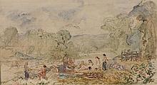 Paul HUET (1803-1869) Les rives enchantées Aquarelle, porte le cachet de l'atelier en bas, à gauche. Trace de mise au carreau 20 × 3..