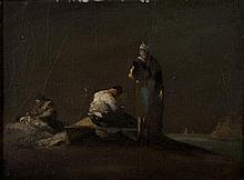 Attribué à Théodule Augustin RIBOT (1823-1891) Le ravaudage des filets Huile sur toile 25,5 × 32,5 cm (Rentoilée)
