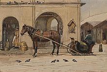 Andrej Karlovich LAVEZZARI (1813/17-1881) La halte du traineau Aquarelle, signé en bas à gauche et daté 1872 14 × 20,5 cm