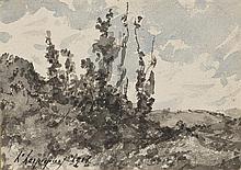 Henri Joseph HARPIGNIES (1819-1916) Paysage à Saint Privé Aquarelle sur papier signé et daté 1911 en bas à gauche 12,4 × 17,5 cm