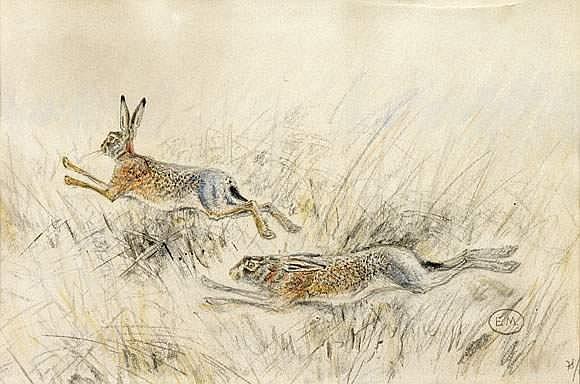 PAUL ÉDOUARD MÉRITE (1867-1941) - Deux lièvres