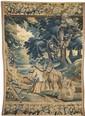 Fragment de tapisserie à décor d'une scène dans un sous-bois avec personnages, cheval et chiens. Bordures ornées de frises de fleurs,
