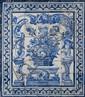 Paire de panneaux d'azulejos composés chacun de cinquante-six carreaux blanc et bleu à décor de panier de fruits et de fleurs posé sur