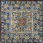 Panneau d'azulejos composé de soixante-quatre carreaux polychromes avec, au centre, un camélia entouré de branches fleuries dans un en
