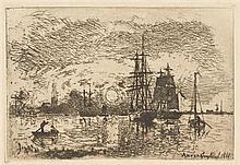 Johan Barthold JONGKIND (1819-1891) Soleil couchant, port d'Anvers (Delteil 15)