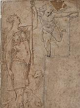 Attribué à Prospero FONTANA (1512-1597) Diane et deux chiens de chasse