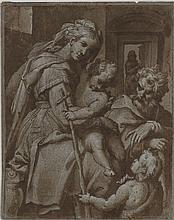 Attribué à Orazio SAMACCHINI (1532-1577) La Sainte Famille et Saint Jean-Baptiste Plume et encre brune, lavis brun et rehauts de gou...
