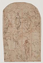 École ITALIENNE du XVIe siècle Un roi priant devant un autel